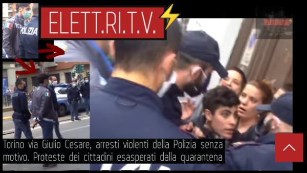 Torino_via_Giulio_Cesare_arresti_violenti_della_Polizia_senza_motivo_Proteste_dei_cittadini_esasperati _alla _quarantena_influenza_coronavirus