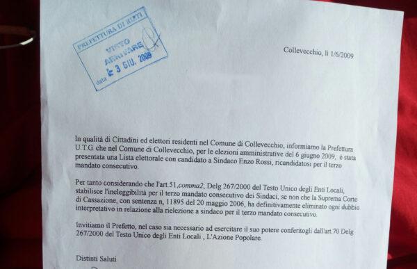 RICHIESTA CIVICA DI AZIONE POPOLARE  all' UTG Ufficio Territoriale del Governo, per la ricandidatura a terzo mandato illegale a sindaco di Enzo Rossi 2009